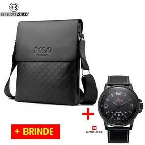 Bolsa Polo + Relógio Masculino Estilo Carteiro Lateral Couro
