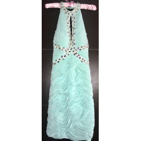 Vestido Corto Color Menta Con Piedras Color Plateadas