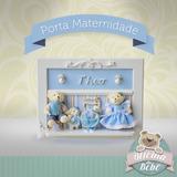 Porta Maternidade Família Urso Bebê + Irmão Ou Irmã Quadro