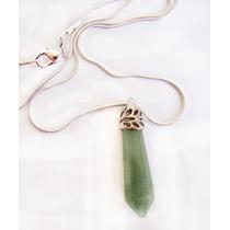 Pingente Pêndulo Jade Verde Banhado A Ouro Branco E Colar