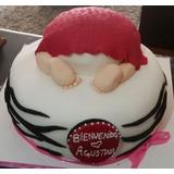 Torta Bautizo Baby Shower 2 Diseños Fondant Santiago Cake