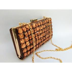 Bolsa Cluth De Mão Pedras Bronze Dourada Preta Festas Ano