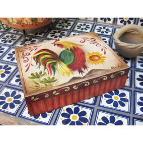 Caja De Madera, Caja De Té, Pintada A Mano, Gallo, Grande