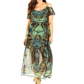 Vestido Largo Gasa Estampado Verde Print, Xxl Envío Serenity