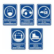 Señalamientos Covid Básico - Kit  5 Piezas