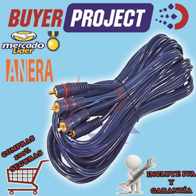 Cable Audio Y Video De 2 Rca A 2 Rca 5mts Transparente Azul