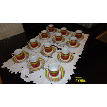 Jogo De Xicaras Em Porcelana Cafe Com 24 Peças - P/ Presente