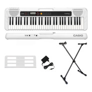 Kit Teclado Casio Tone Ct-s200 Musical 61 Teclas Usb Branco