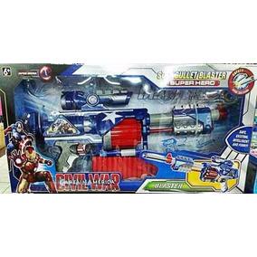 Arma Brinquedo Rifle Nerf Dardo Capitão América C/ 20 Nerfs