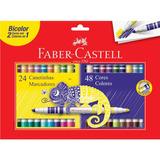 Caneta Hidrográfica Bicolor Faber Castell 24 Canetinhas = 4
