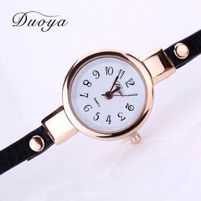 Relógio Feminino Dourado Bracelete Em Couro C/pedra Preciosa