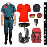 Kit Bombeiro Civil Masculino C/ Bota + Farda + 7 Itens