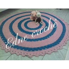 Tapete Em Croche Com 1,20 De Diâmetro Rosa/turquesa