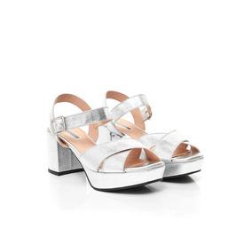 Sandalias De Mujer Via Uno 17253605 Specchio Craquele Plata