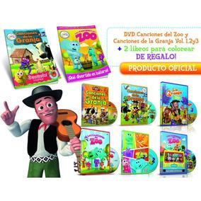 Dvd Canciones De La Granja Y Del Zoo Vol. 1,2,3 + 2 Libros