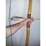 Arco E Flechas De Madeira Long Bow Medieval + 2 Flechas