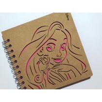 Libreta Madera Corte Láser Princesa Rapunzel
