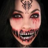 Tatuagem Terror Boca Grande Demonio Festa Halloween