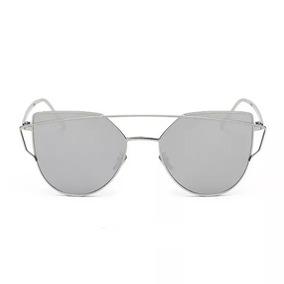 Óculos Espelhado Feminino Gatinho Sideral Redondo Metal - Óculos De ... 7c45664e6e