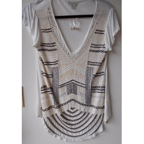 Blusa Camiseta Saks Importada Feminina Bordada