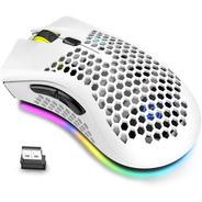 Mouse Inalámbrico Gamer Recargable Control Luz Rgb 6 Botones