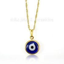 Colar Pingente Olho Grego Folheado Ouro 18k Azul Turco