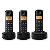 Telefone Sem Fio Philips D1303b Com Base + 2 Ramal C/ Bina