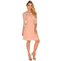 Vestido Vestido Plissado Crepe Rosa Moda Evangélica Rose