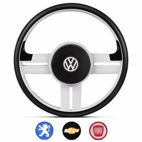 Volante Rallye Slim Branco Emblemas Vw Gm Fiat Peugeot