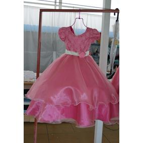 Vestido De Niña Rosa Primera Comunión, Paje Talla 7