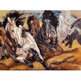 Quadro Cavalos Pintura Óleo Sobre Tela 60x80cm Frete Gratis