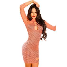 Sexy Mini Vestido De Red Salmon Con Mangas Y Forro Negro