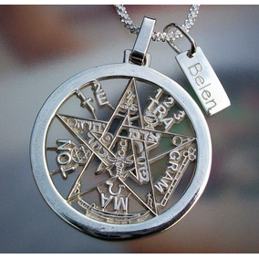 Dije De Tetragramaton Pentagrama Placa En Plata Ley.925 38mm