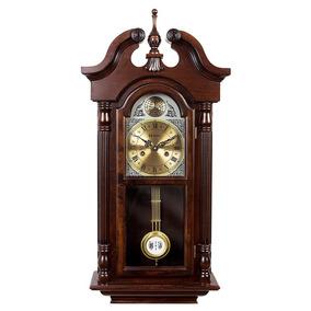 Relógio De Parede Carrilhão Pendulo Madeira Novo Cordas 5355