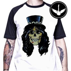 Camiseta Raglan Slash Caveira Banda Guns N Roses Desenho