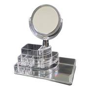 Organizador Acrílico C/espelho Maquiagem Batom
