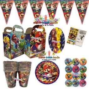 Mario Bros Kit Fiesta 40 Niños Cumple Platos Dulceros Globos