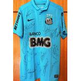 Camisa Santos Centenário Autografada Todo Elenco 10f80dc0f0e89