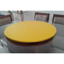 Prato Giratório Laqueado Mesa Jantar Decor 70cm Amarelo