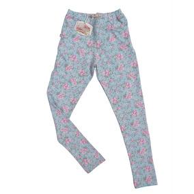 Calzas Leggings Blisant Nena Tipo Pantalon Flores Celeste