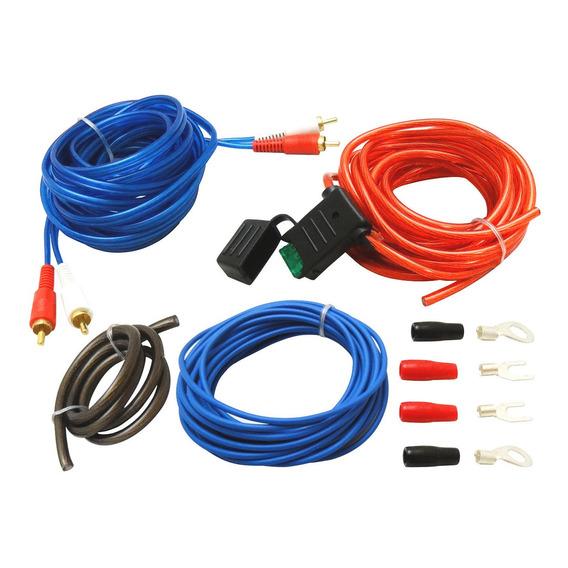 Kit De Cables Para Potencias 800w Pico 10 Gauges Rca Fusible