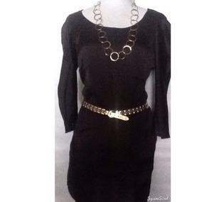 Bluson Vestido Tela Similar A La Seda Negro