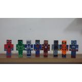 Heróis 8 Bonecos Com Acessórios -coleção Mine Craft