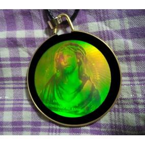 Cristo Holográfico Cordão De Couro Corrente Holografia