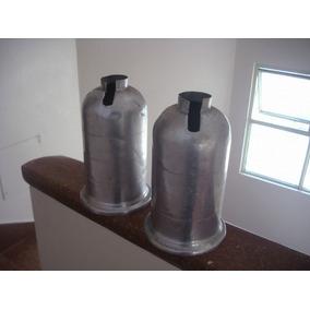Antiguo Par De Cubre Sifones De Aluminio Original