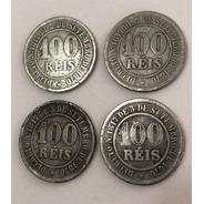 Moedas 100 Réis 1871 / 1882 / 1885 / 1889 Império -lote 04