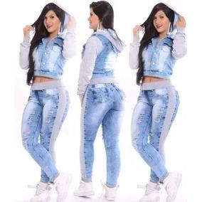 Conjunto Jeans E Moleton Calça E Jaqueta - Feminino