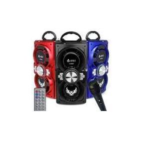 Caixa Som Bluetooth Portátil Amplificada Usb Mp3 + Microfone