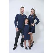Pais E Filhas - Kit 03 Peças Azul Ml Camisa + Vestidos Polo