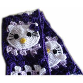 A Pedido Bufanda Tejida Crochet Nena Hello Kitty Aplique